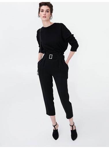 Ipekyol Pilili Yüksek Bel Pantolon Siyah